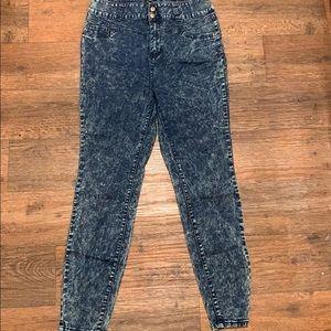 Forever 21+ Dark Blue Acid Wash Skinny Jeans